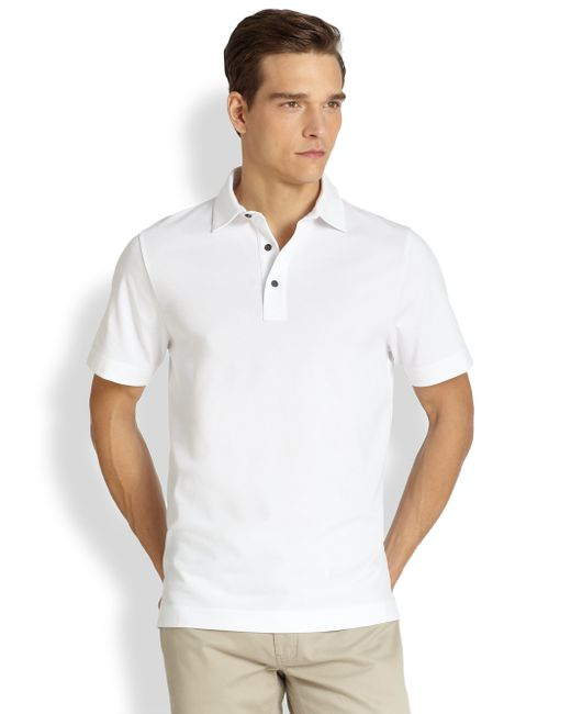 Saks Fifth Avenue | White Oxford Polo Shirt for Men | Lyst