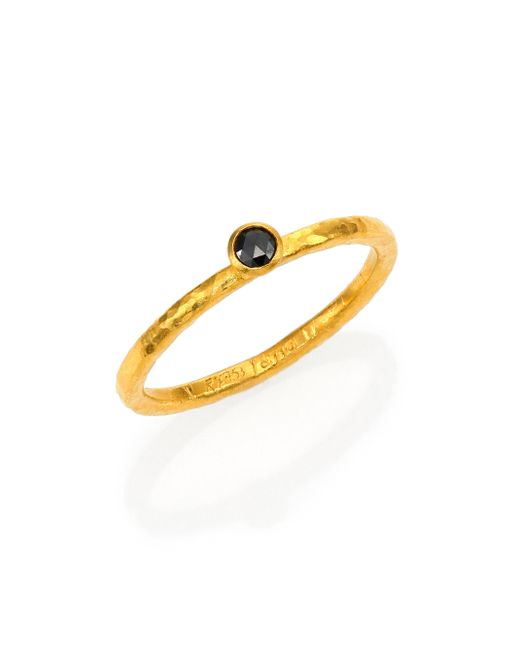 Gurhan | Metallic Delicacies Black Diamond & 24k Yellow Gold Stackable Ring | Lyst
