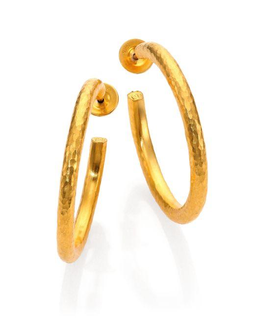 Gurhan | Metallic Edifice 24k Yellow Gold Classic Hoop Earrings/1.25 | Lyst