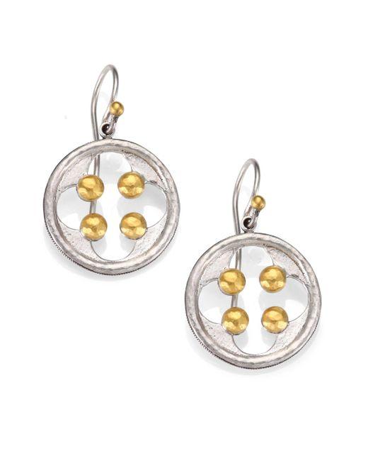Gurhan   Metallic Cloister 24k Yellow Gold & Sterling Silver Quatrefoil Drop Earrings   Lyst