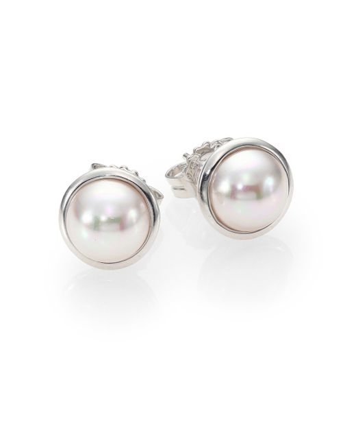 Majorica | Metallic 8mm Mabe White Pearl & Sterling Silver Bezel Stud Earrings | Lyst
