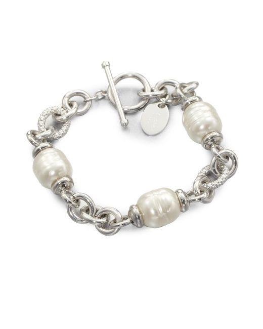 Majorica | 12mm White Baroque Pearl Station Bracelet | Lyst