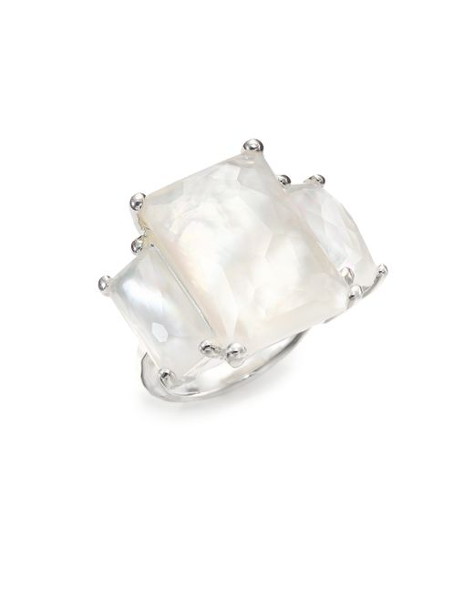 Ippolita | Metallic Rock Candy Mother-of-pearl, Clear Quartz & Sterling Silver Three-stone Ring | Lyst