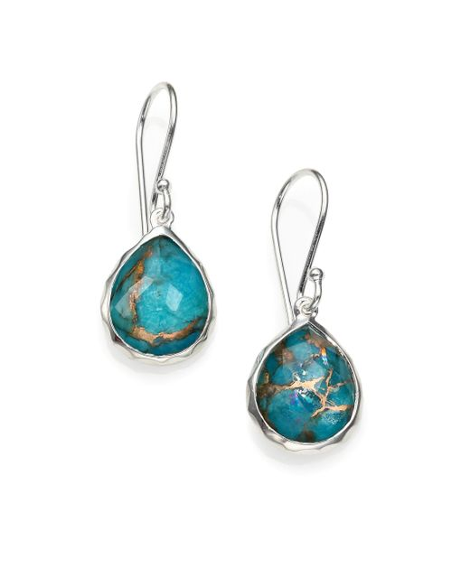 Ippolita | Blue Bronze Turquoise, Clear Quartz & Sterling Silver Earrings | Lyst