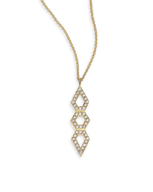 Ron Hami | Metallic Orighami Pave Diamond & 18k Yellow Gold Totem Pendant Necklace | Lyst