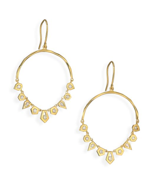 Ron Hami | Metallic Rain Diamond & 18k Yellow Gold Arc Chandelier Earrings | Lyst