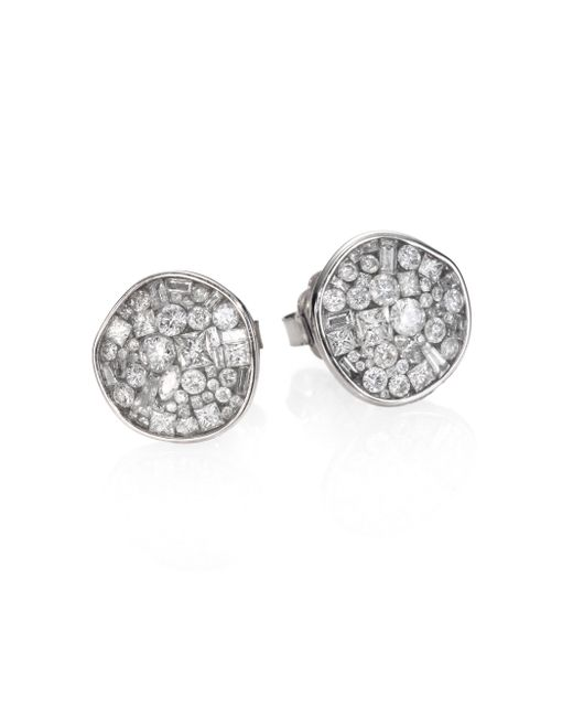 Plevé | Ice Diamond & 18k White Gold Pebble Button Earrings | Lyst