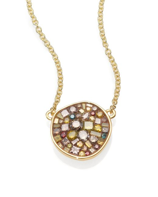 Plevé | Metallic Cinnamon Diamond & 18k Yellow Gold Pebble Pendant Necklace | Lyst