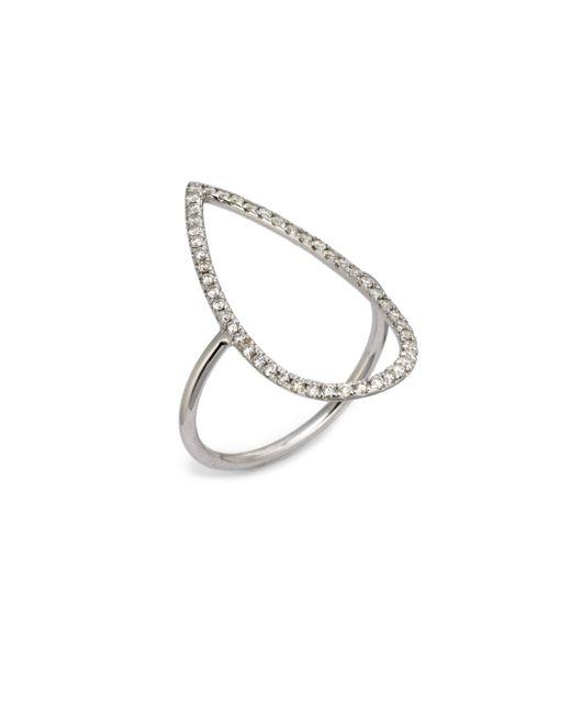 Diane Kordas | Diamond & 18k White Gold Pear Ring | Lyst