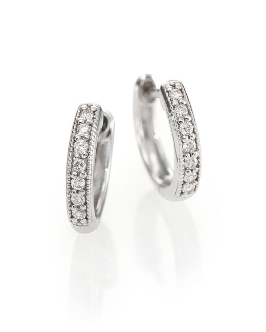 Jude Frances | Classic Diamond & 18k White Gold Huggie Hoop Earrings/0.5 | Lyst