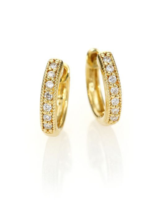 Jude Frances | Metallic Classic Diamond & 18k Yellow Gold Huggie Hoop Earrings/0.5 | Lyst