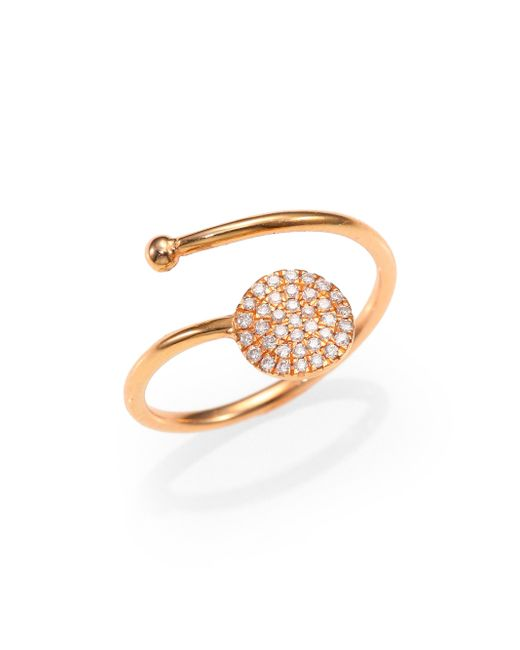 Diane Kordas   Diamond & 18k Yellow Gold Circle Wrap Ring   Lyst