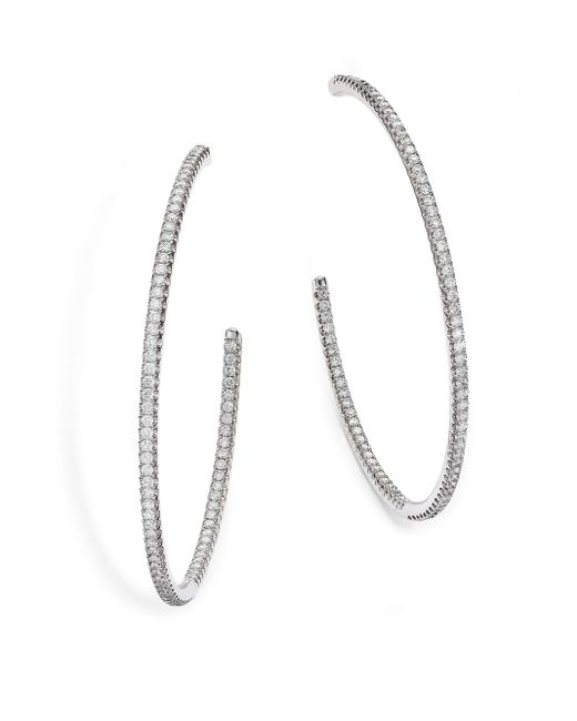 De Beers | Classic Diamond & 18k White Gold Inside-outside Hoop Earrings/2 | Lyst