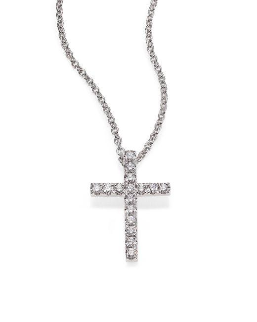 De Beers   Metallic Classic Diamond & 18k White Gold Cross Pendant Necklace   Lyst