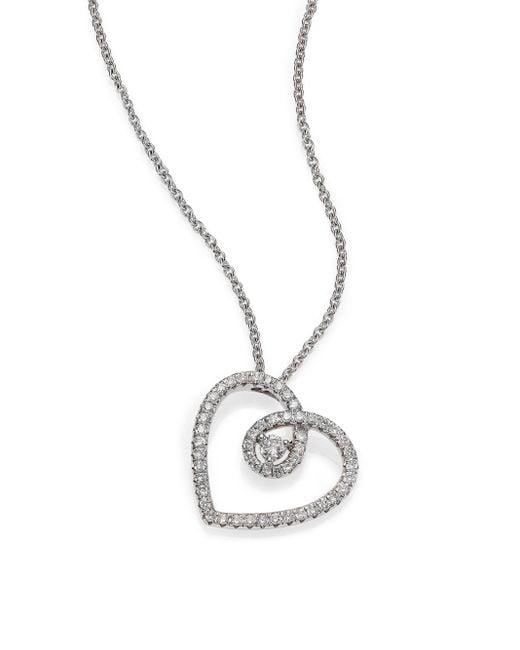 De Beers | Metallic Classic Diamond & 18k White Gold Heart Pendant Necklace | Lyst