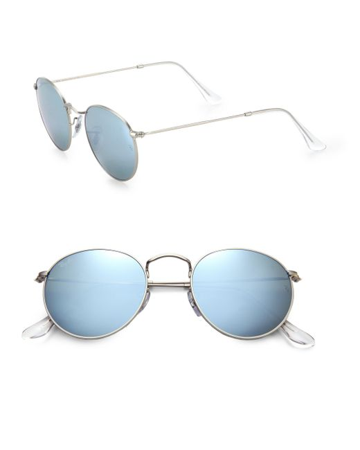 Ray-Ban   Blue Round Metal Sunglasses for Men   Lyst
