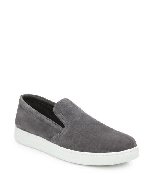 Prada | Gray Suede Slip-on Sneakers for Men | Lyst