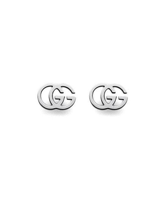 Gucci - Metallic 18k White Gold Double G Earrings - Lyst