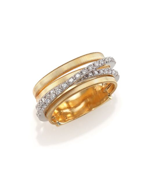 Marco Bicego | Metallic Marrakech Diamond & 18k Yellow Gold Five-strand Ring | Lyst