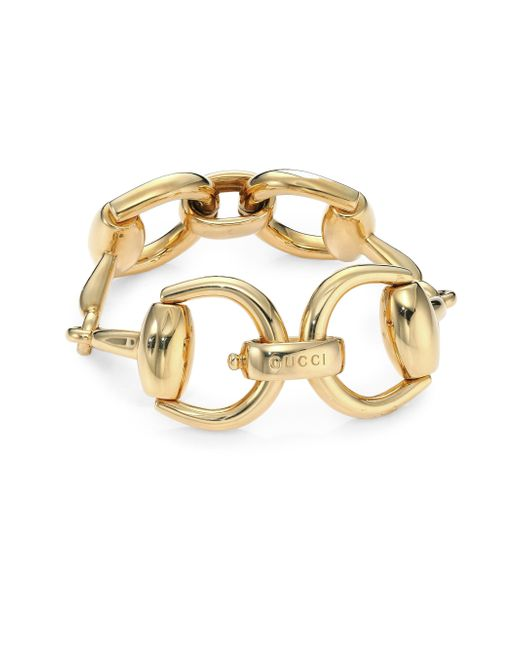 Gucci | Metallic Horsebit 18k Yellow Gold Bracelet | Lyst