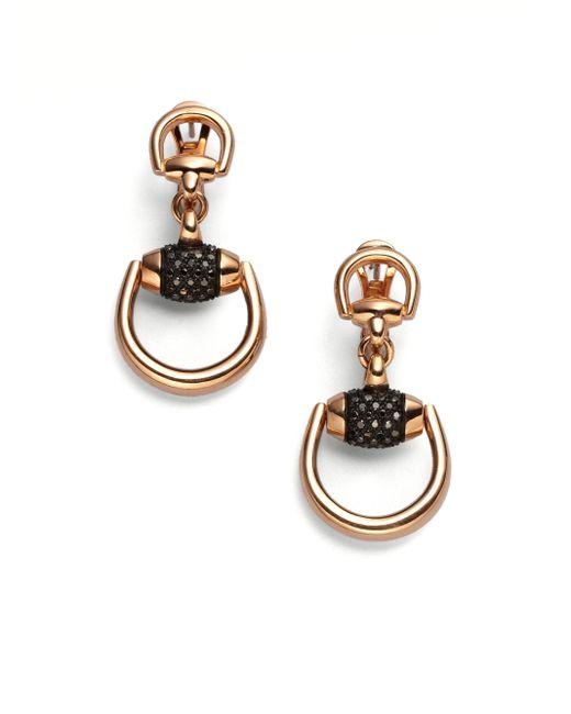 Gucci | Metallic Horsebit Black Diamond & 18k Rose Gold Drop Earrings | Lyst