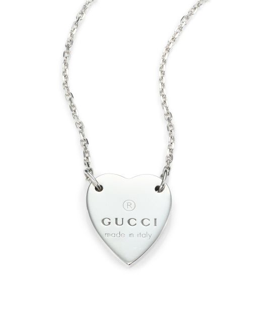 Gucci | Metallic Sterling Silver Signature Heart Pendant Necklace | Lyst