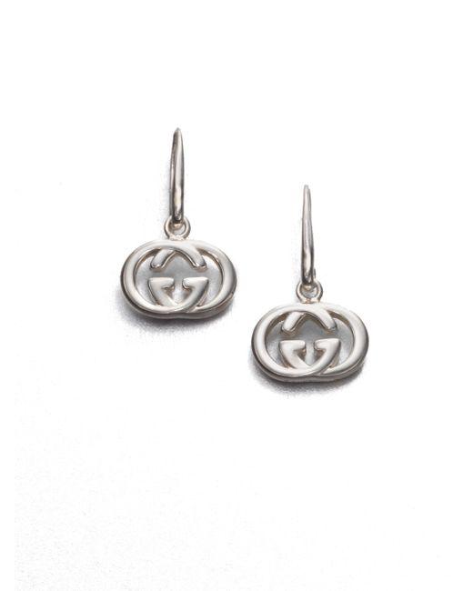 Gucci   Metallic Double G Sterling Silver Drop Earrings   Lyst
