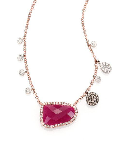 Meira T | Pink Ruby, Diamond & 14K Rose Gold Pendant Necklace | Lyst