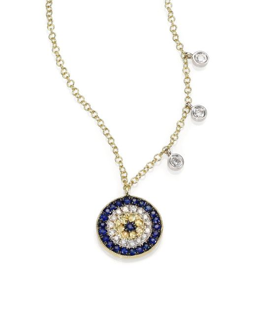 Meira T | Metallic Diamond, Blue Sapphire & 14k Yellow Gold Evil Eye Necklace | Lyst