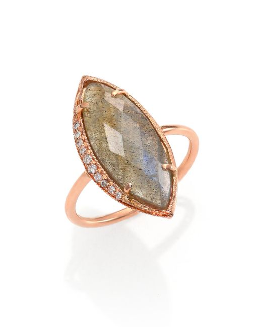 Jacquie Aiche | Pink Labradorite, Diamond & 14k Rose Gold Marquis Ring | Lyst