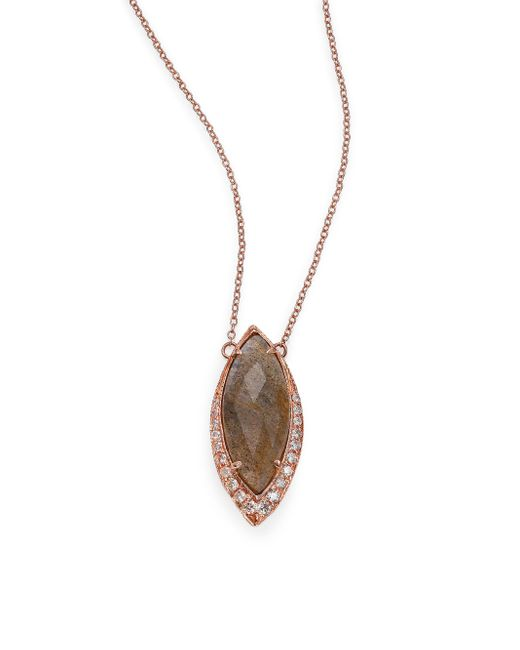 Jacquie Aiche | Pink Labradorite, Diamond & 14k Rose Gold Marquis Necklace | Lyst