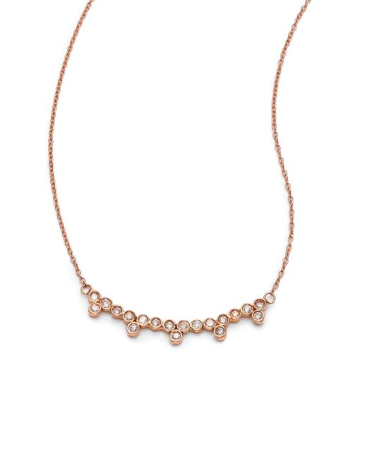 Jacquie Aiche | Metallic Diamond & 14k Rose Gold Multi-bezel Necklace | Lyst