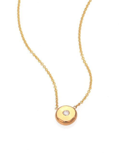 Zoe Chicco | Metallic Diamond & 14k Yellow Gold Initial Pendant Necklace | Lyst