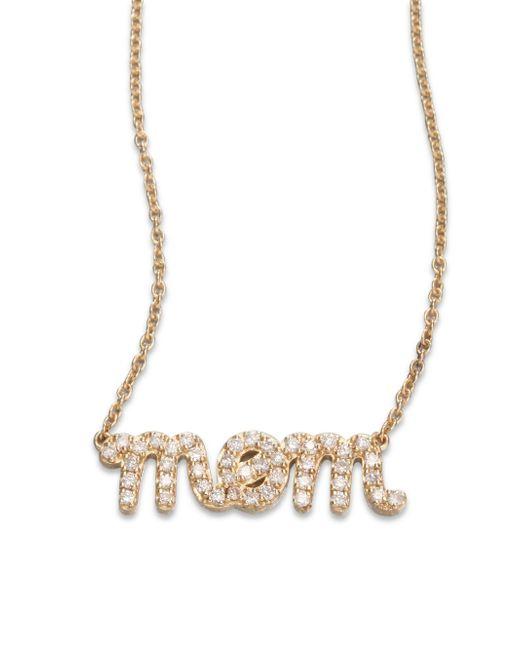 Sydney Evan   Metallic Diamond & 14k Yellow Gold Mom Necklace   Lyst