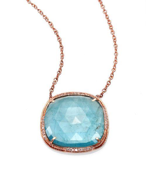 Jacquie Aiche | Pink Aquamarine, Diamond & 14k Rose Gold Freeform Pendant Necklace | Lyst