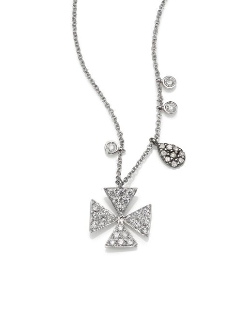 Meira T | Metallic Diamond & 14k White Gold Cross Necklace | Lyst