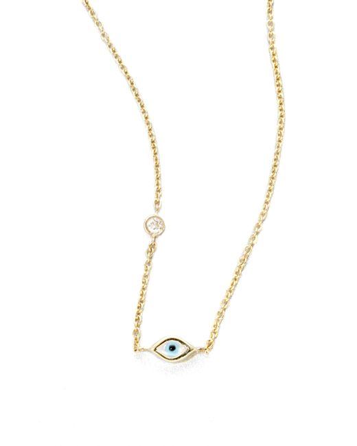 Sydney Evan | Metallic Diamond, Enamel & 14k Yellow Gold Mini Evil Eye Necklace | Lyst