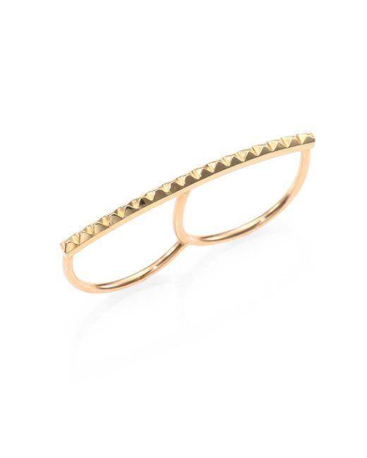 Zoe Chicco | Metallic 14k Yellow Gold Pyramid Bar Two-finger Ring | Lyst