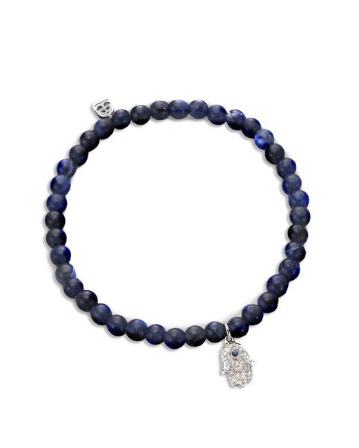 Sydney Evan | Blue Diamond, Sapphire, Sodalite & 14k White Gold Baby Hamsa Beaded Stretch Bracelet | Lyst