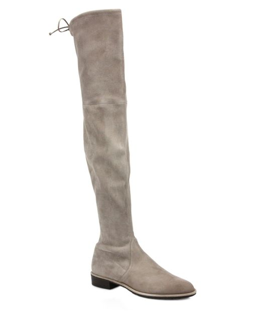 Stuart Weitzman | Gray Lowland Suede Over-the-knee Boots | Lyst