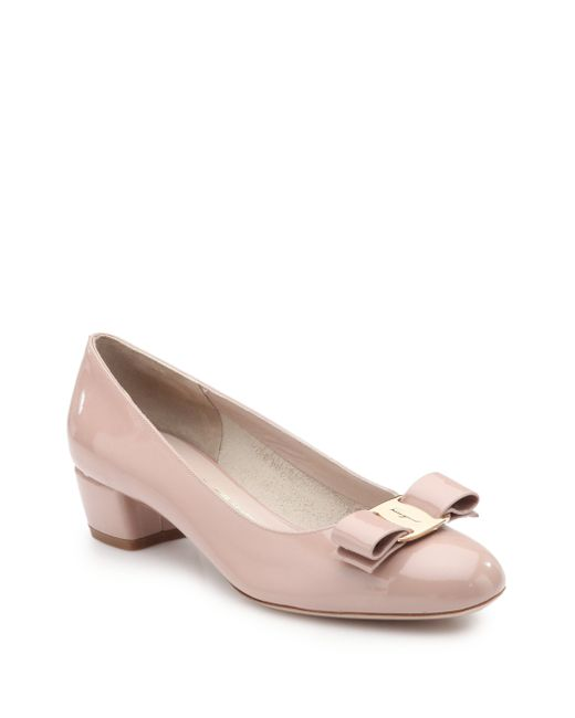 Ferragamo | Pink Vara Patent Leather Pumps | Lyst