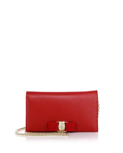 Ferragamo | Red Miss Vara Saffiano Leather Bow Chain Wallet | Lyst