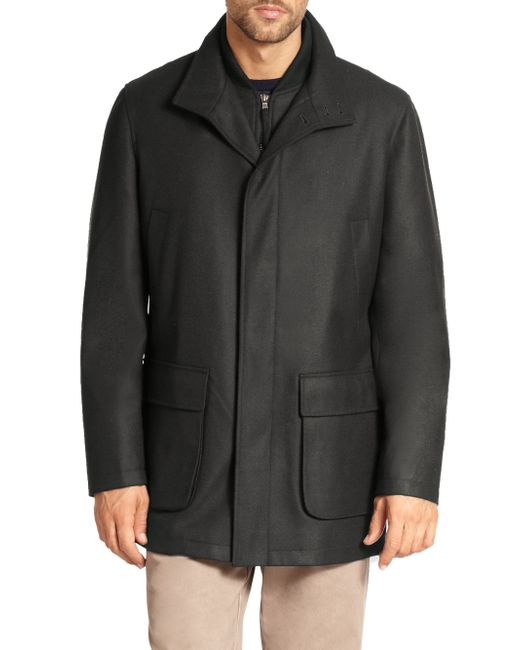 Saks Fifth Avenue | Gray Wool Overcoat for Men | Lyst