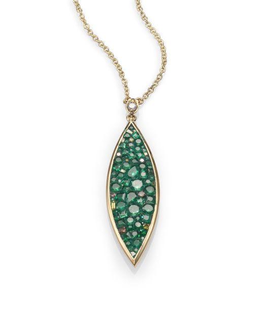 Plevé | Green Verde Tsavorite, Diamond & 18k Yellow Gold Marquis Pendant Necklace | Lyst