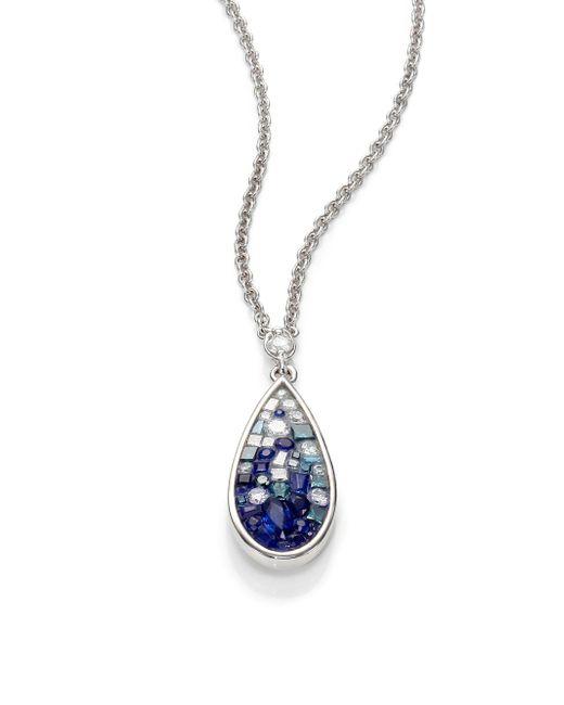 Plevé | Blue Ombre Diamond, Sapphire & 18k White Gold Teardrop Pendant Necklace | Lyst