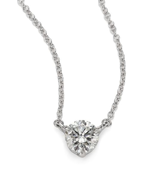 Kwiat | White Diamond & Platinum Medium Solitaire Pendant Necklace | Lyst
