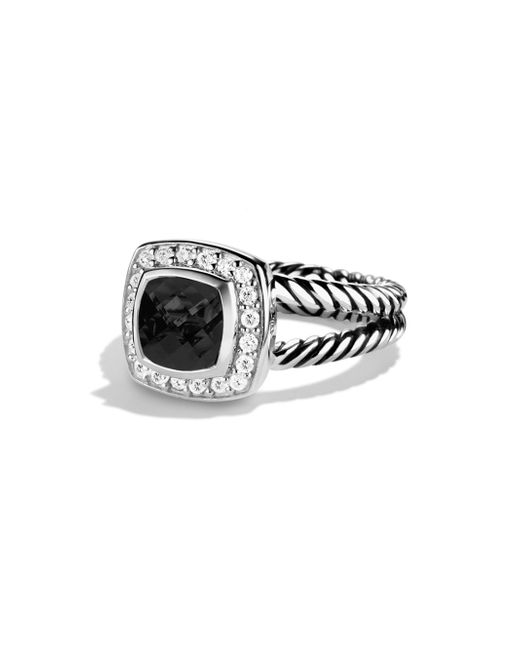 David Yurman - Black Petite Albion Ring With Diamonds - Lyst