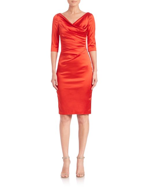 Talbot Runhof | Red Ruched Satin Sheath | Lyst