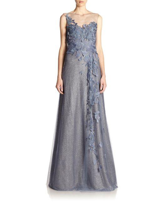Rene Ruiz | Blue Floral-Appliqué Tulle Gown  | Lyst