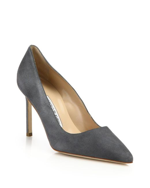 Manolo Blahnik | Gray Bb 90 Suede Point Toe Pumps | Lyst